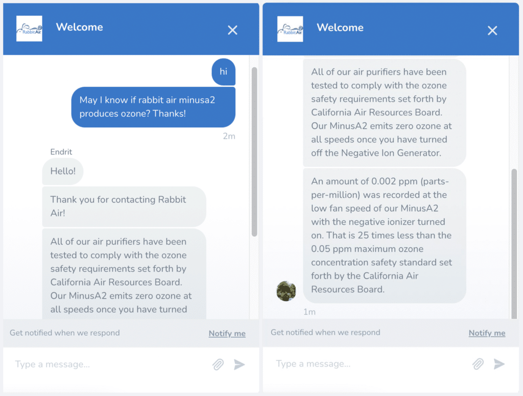 Screenshot of the fast and immensely helpful response of Rabbit Air Customer Support service.