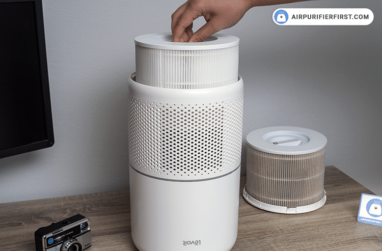 Placing the new filter inside the Levoit Core 300