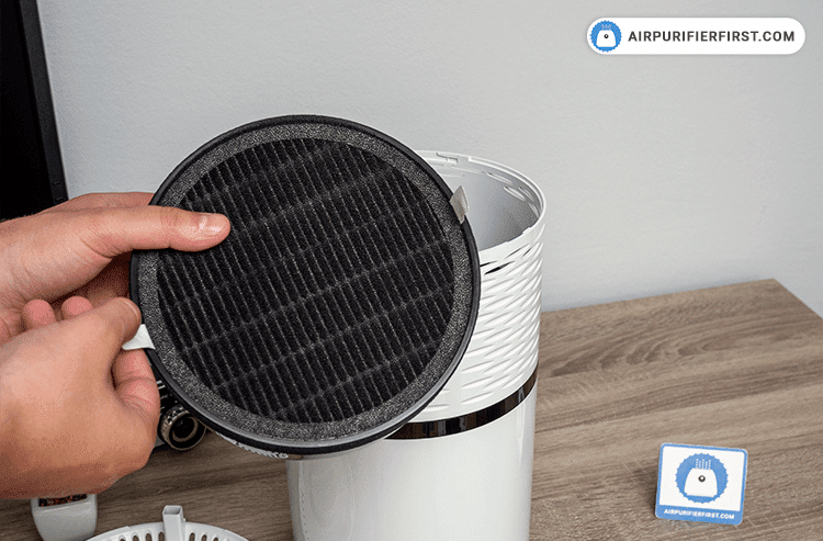 Removing old filter from the air purifier.