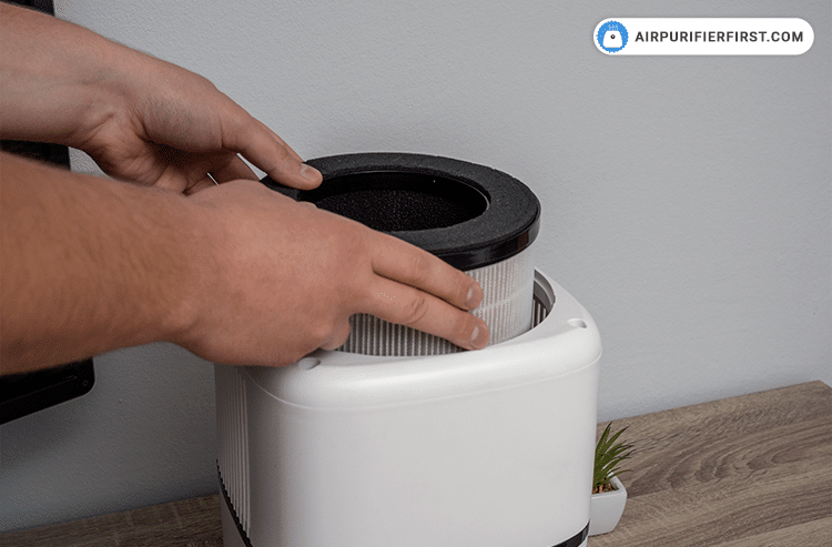 Put the new filter in the Okaysou Air Purifier