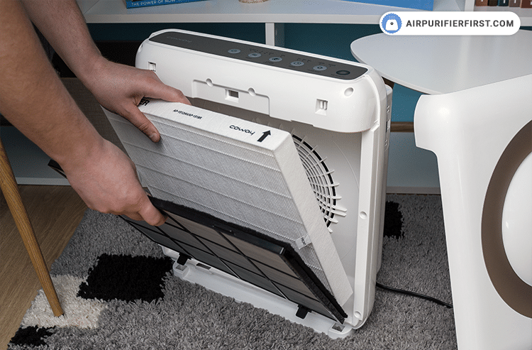 Take old filters out of the air purifier.
