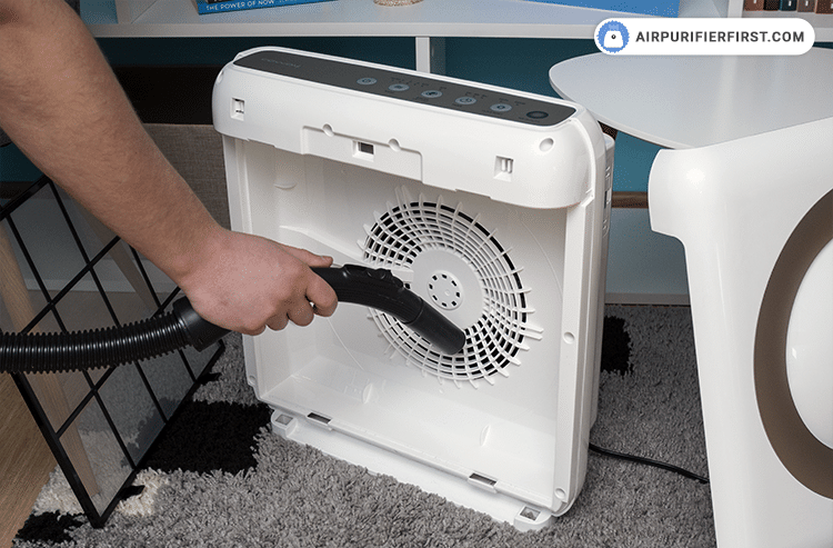 Use a vacuum cleaner and clean the inside of the air purifier to remove dust and other particles inside the device.