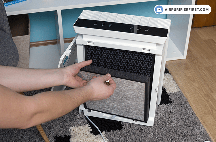 Unplug the air purifier and remove the back cover