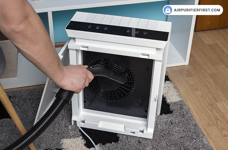 Use a vacuum cleaner and clean the inside of the air purifier