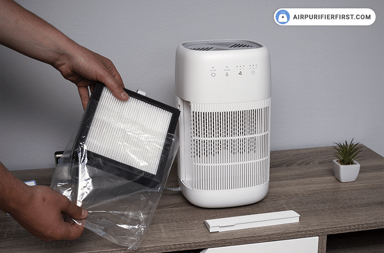 The next step is to prepare the new filter by unpacking it and inserting it into the air purifier.