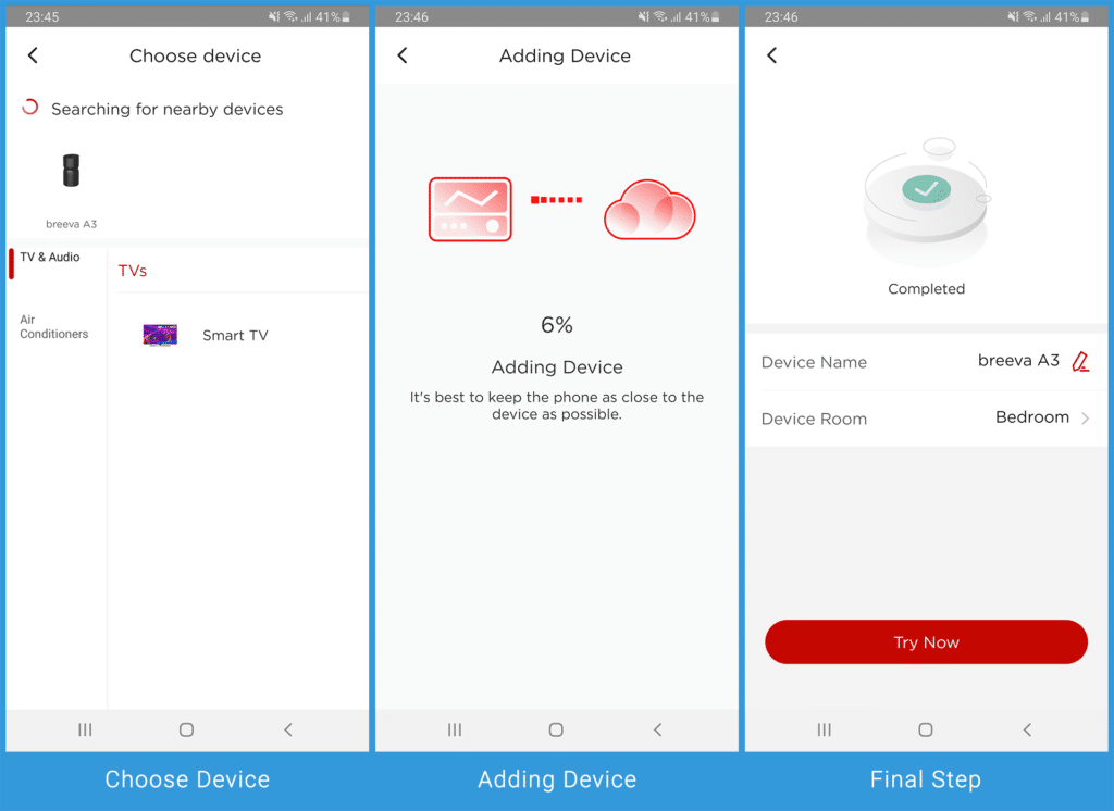 Linking A3 Breeva to the Smart App