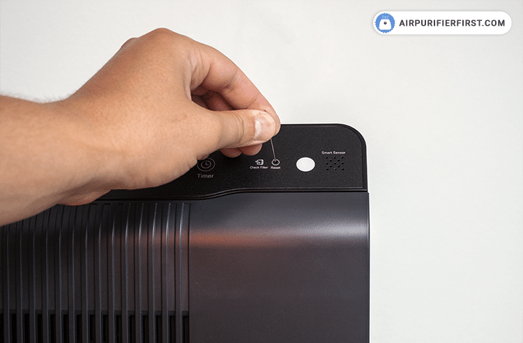 After replacing the filters, turn the power onto the unit and then use a thin object, such as a paper clip, and press the