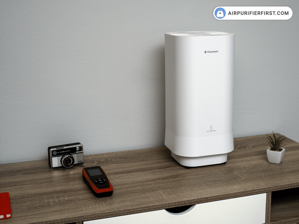 Clean-tech Air Purifier - Positioned on the Desk
