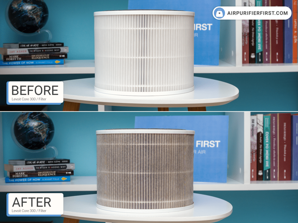 Levoit Core 300 Air Purifier Filter - Before and After