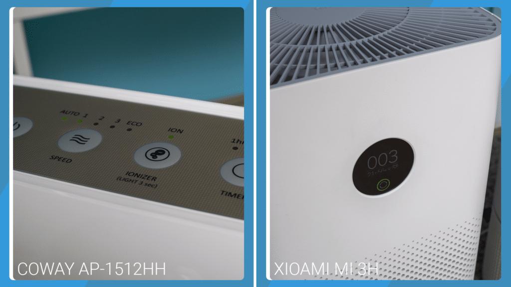 Xiaomi Mi 3H Vs Coway AP-1512HH Mighty - Control Buttons